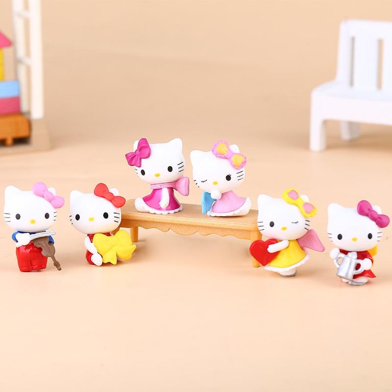 Фигурки каваи для кошек, 6 шт./компл., 3 см, аниме, Мультяшные кошки, поза, ПВХ, экшн-фигурки, модель Кота, мини-модель игрушки