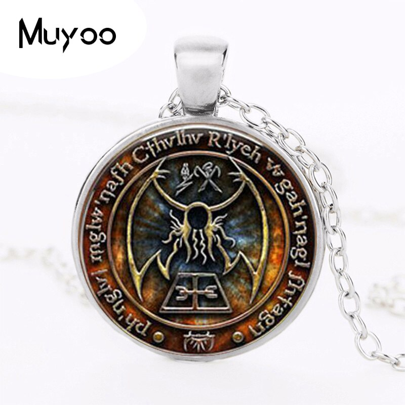 1 шт. Cthulhu R'lyeh Sigil H.P. Lovecraft кулон ювелирные изделия стекло кабошон ожерелье HZ1