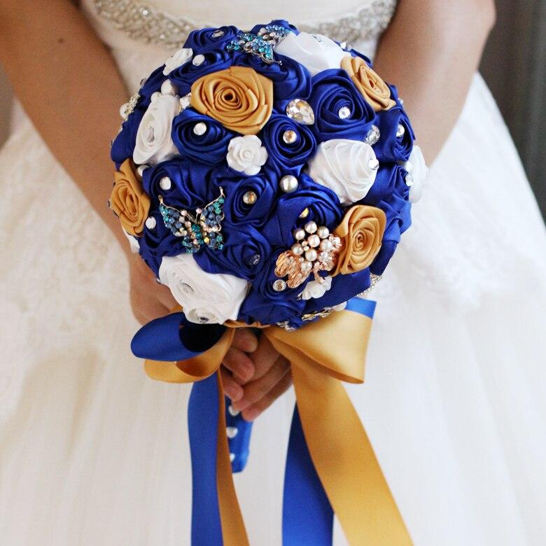 Midnight blue broche buquê de Rosas De Seda Noiva Nupcial Buquê de Casamento Multicolor várias cores Pano rosas bouquets de Dama de honra 7
