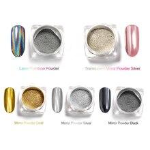 Professionnel Clou Holographique Effet Miroir Poudre Poudre de Pigment de Chrome Émail Gel Or Argent Effet Miroir En Métal Poudre Kit