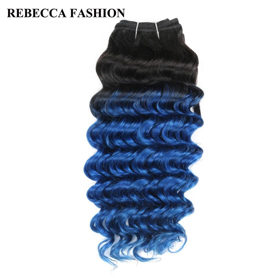 Rebecca Remy Human Hair Weave Bundles Brazilian Deep Wave Hair Ombre Blue Pre-Colored For Salon Hair Extensions T1b/blue