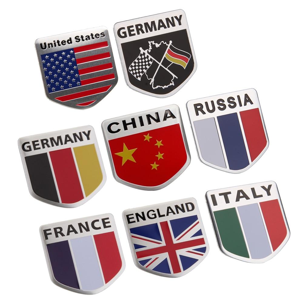 Adhesivos para Metal calcamonías Bandera de coche emblema logotipo para Audi Chevrolet Jaguar Land Rover Ford, Chrysler Fiat Alfa Romeo Peugeot Renault