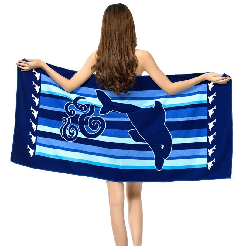 2021 كبير شاطئ المناشف امرأة منشفة استحمام ستوكات كيس دي الرياضة شاطئ الرؤوس 100*180 سنتيمتر النسيج الكبار طباعة السباحة الأزرق Dolhpin