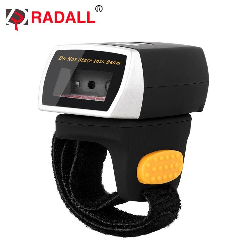 Escáner de código de barras Mini portátil Bluetooth 2D QR, lector de dedo con anillo, lector de dedo PDF417, escáner de códigos con RD-R2 de memoria