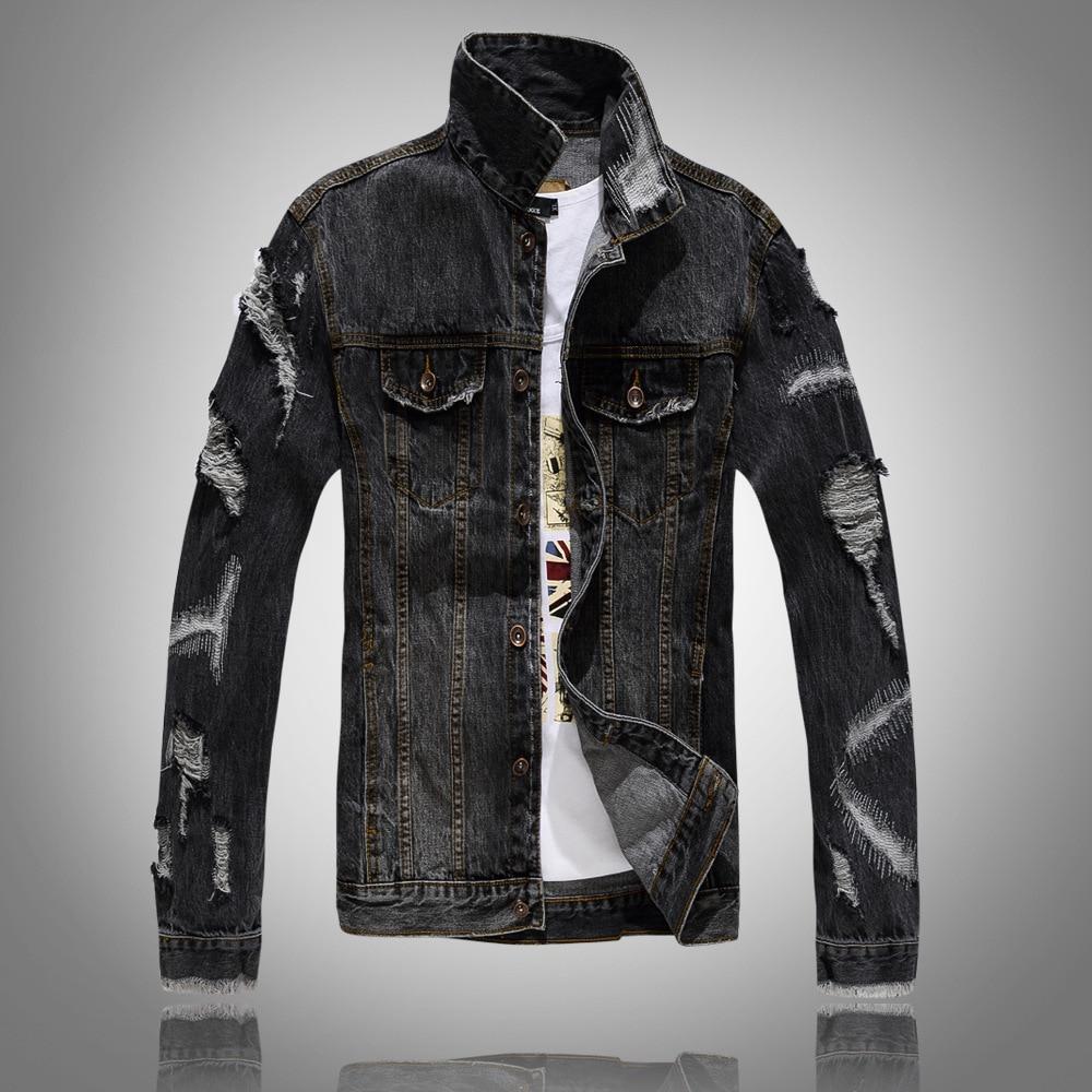 2018 primavera otoño chaqueta de Jean negra para Hombre chaquetas de mezclilla...