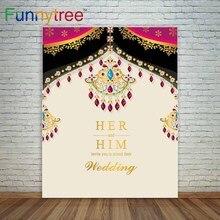 Funnytree photographie décors inde carte de mariage motif or et cristaux couleur photocall photographie fonds de studio