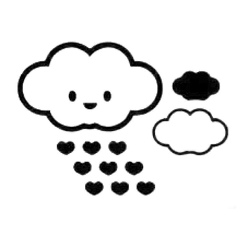 17,2 cm * 12,6 cm nube y corazones de dibujos animados de...