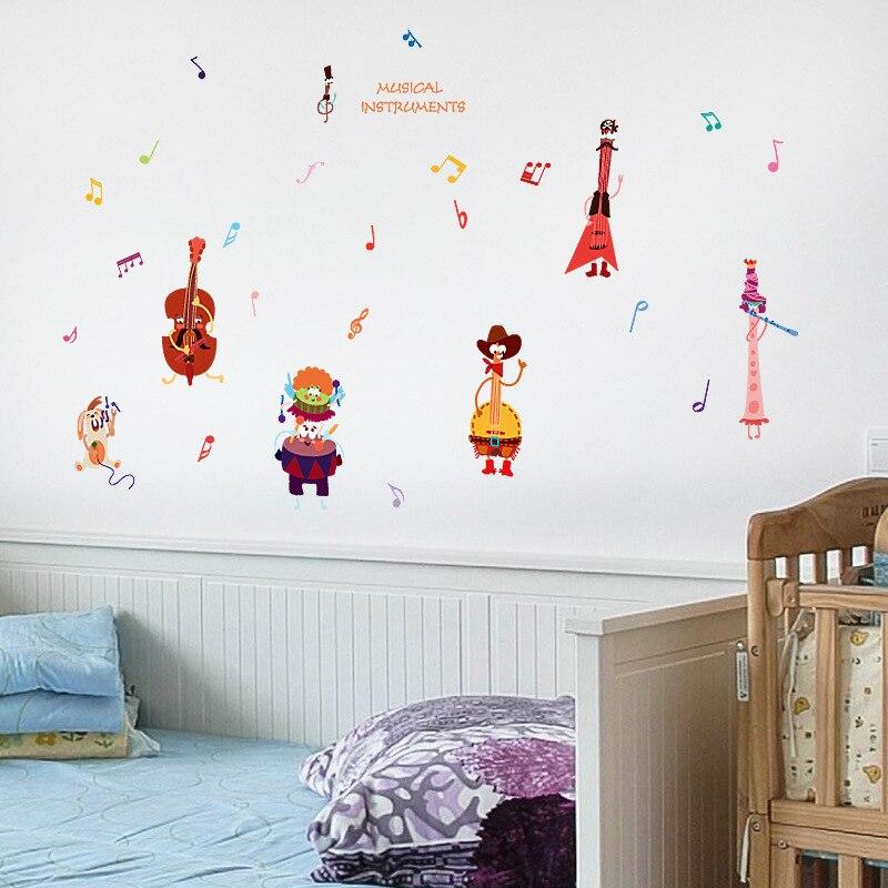 DIY Wall Stickers Cartoon Music Animal Children 's Cabin Cabinet Kindergarten Classroom Decoration Home Wall Stickers