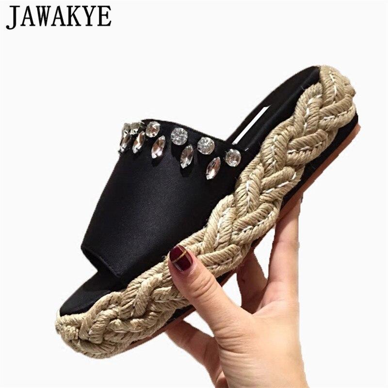 Sommer Schuhe Frauen rosa blau satin seide Kristall decor Hausschuhe Plattform keil high heels 2018 Outdoor Flut sandalen Weiblichen