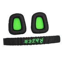 Replacement Earpad Ear Pads Headband Cushion For Razer Electra Gaming PC Headphones Headset Black & Green