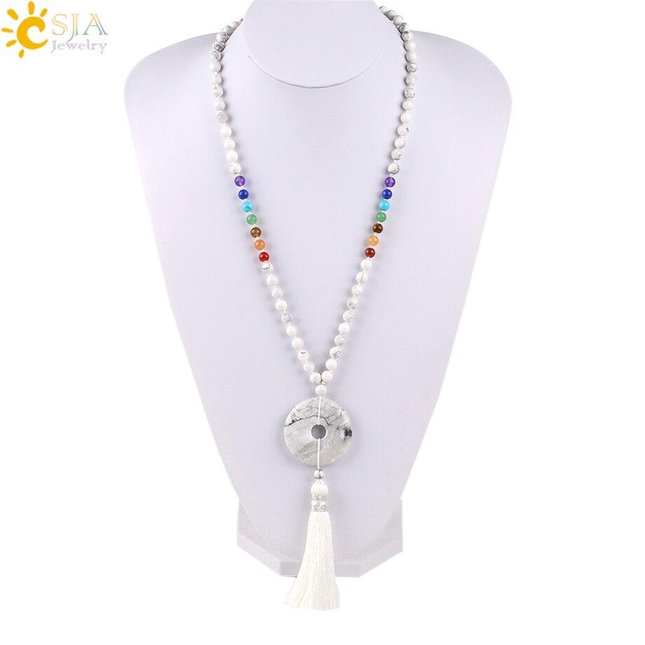 Csja reiki boho longo maxi borla colares 7 chakra pedra natural gem yoga mala grânulo tigre olho rosa quartzo donut colares e800