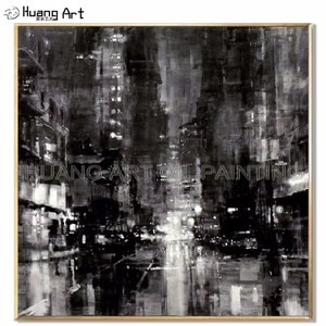 Pure Hand-painted High Quality Black and White Abstract Landscape Oil Painting on Canvas Modern Hand-painted Decor Oil Painting