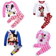 Autum-pyjama à manches longues pour petites filles   Tenue de nuit anna elsa Mickey Minnie Mouse, ensemble dessin animé Pj