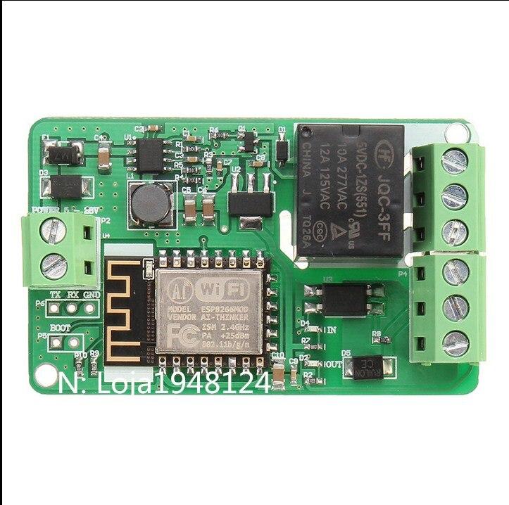Chegada nova, 1 шт., Verde ESP8266, 10A, 220 В, Modulo de Rele De Rede, Wi-Fi, DC 7 В ~ 30 в, modulos