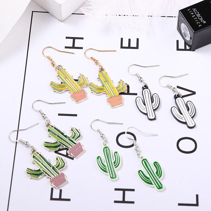 2019 bonitos pendientes de gota de cactus para mujeres y niñas, pendientes de cactus de dibujos animados, joyería de árbol de coco, pendientes de palma de coco