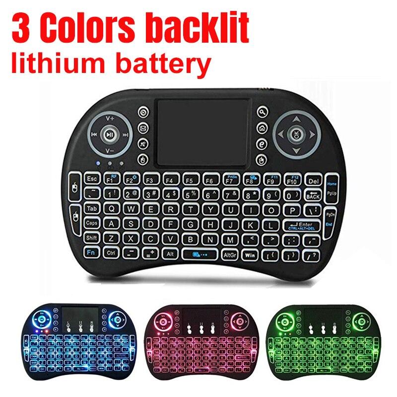 Фото Мини клавиатура i8 3 цвета беспроводная с подсветкой 2 4 ГГц Воздушная мышь тачпад