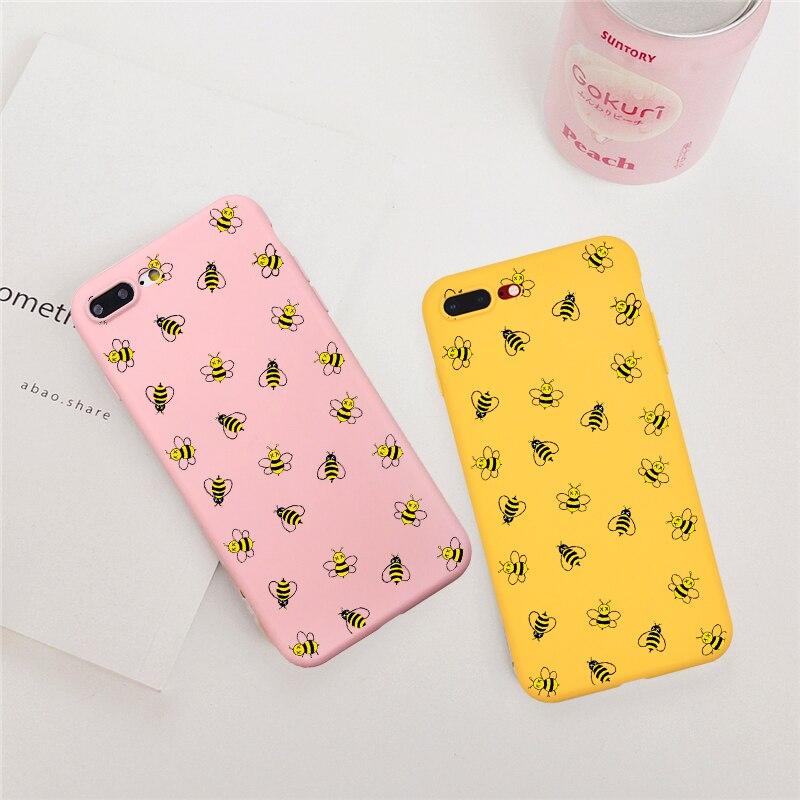 Funda de teléfono de dibujos animados animales abejas para iPhone 5 SE XS MAX XR 6 6S Plus funda amarilla de silicona suave para iPhone 7 Plus 8