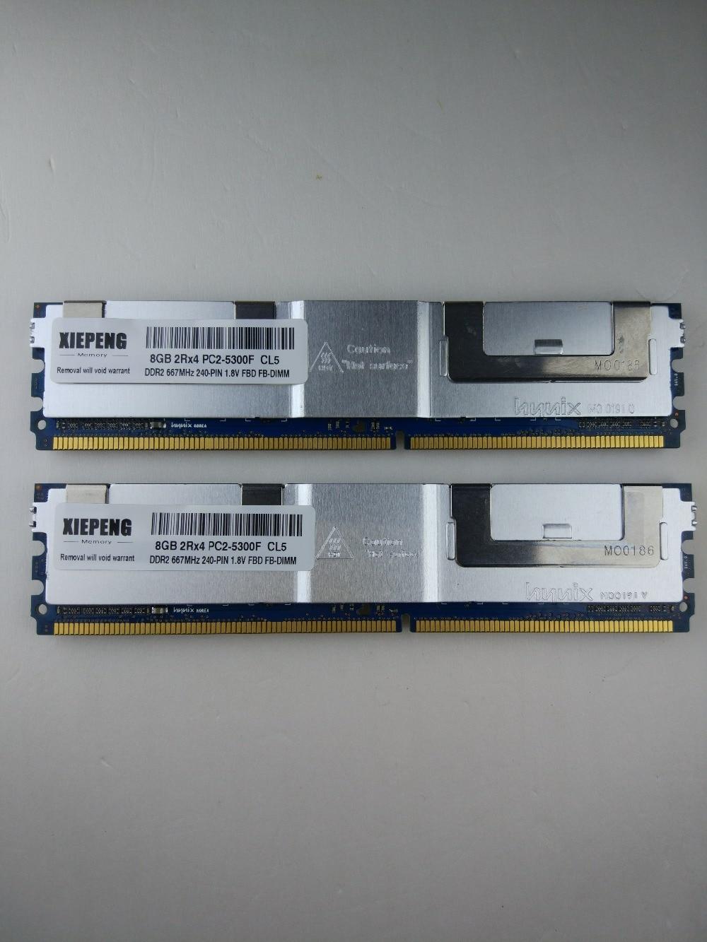 ذاكرة 16GB (2x8GB) DDR2 ECC FBD مخزنة بالكامل RAM 4GB 667MHz FB-DIMM 8G 2Rx4 PC2-5300F لديل PowerEdge من 1950 M600 M1000e