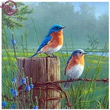 Tableau de paysage broderie diamant 5d bricolage   Peinture diamant, point de croix, oiseaux bleus, strass chargé, artisanat