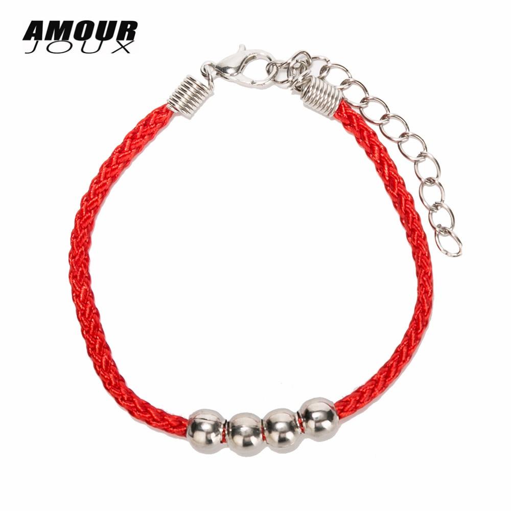 Amuleto de hilo rojo y negro de la suerte, pulseras de cadena de Color plateado para mujeres con pulsera de cuerda de amistad