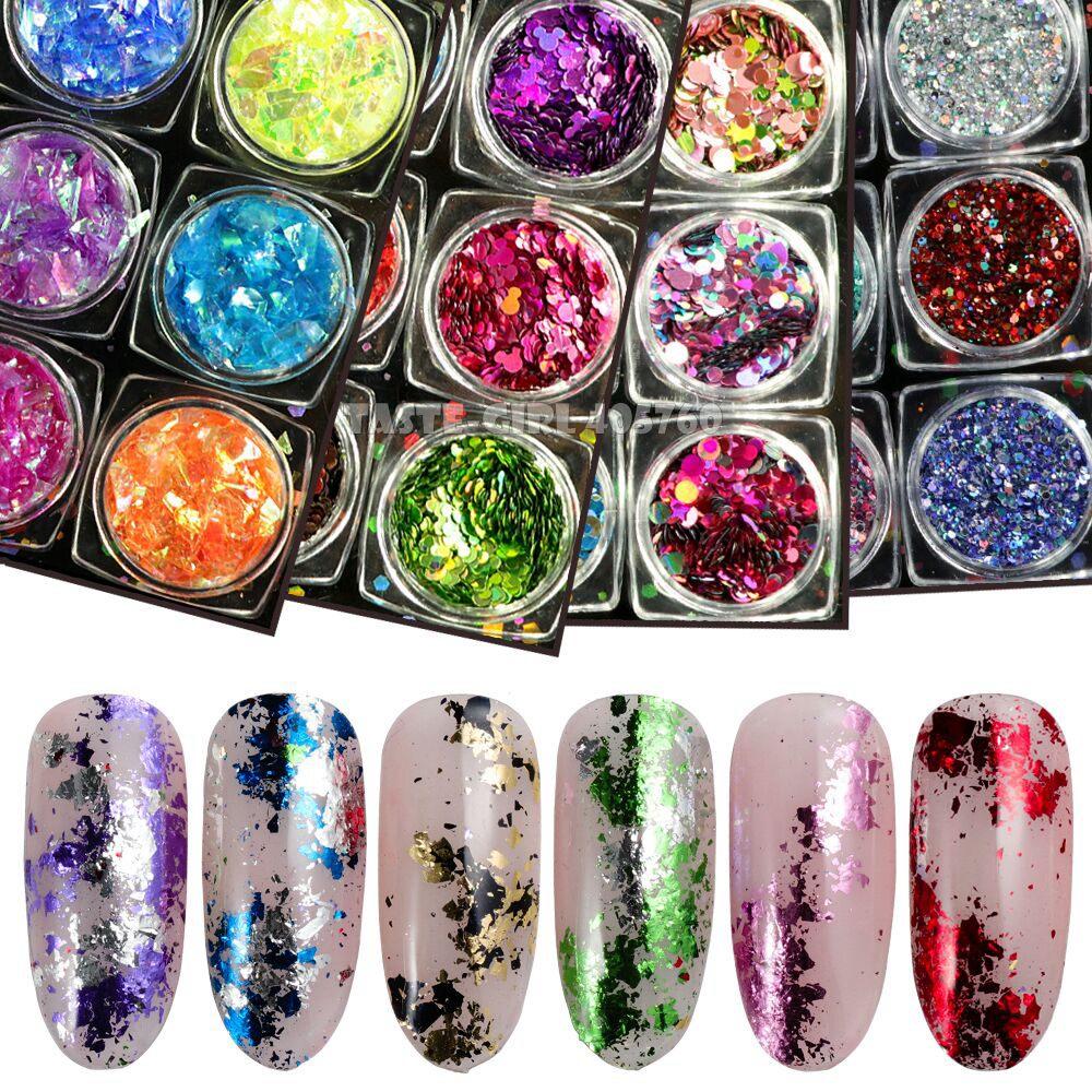 12 tarros/set combinado holográfico, con brillo mezclar la forma lentejuelas polvo Irregular polvo Mylar Shell Mix Nail Art decoración Set