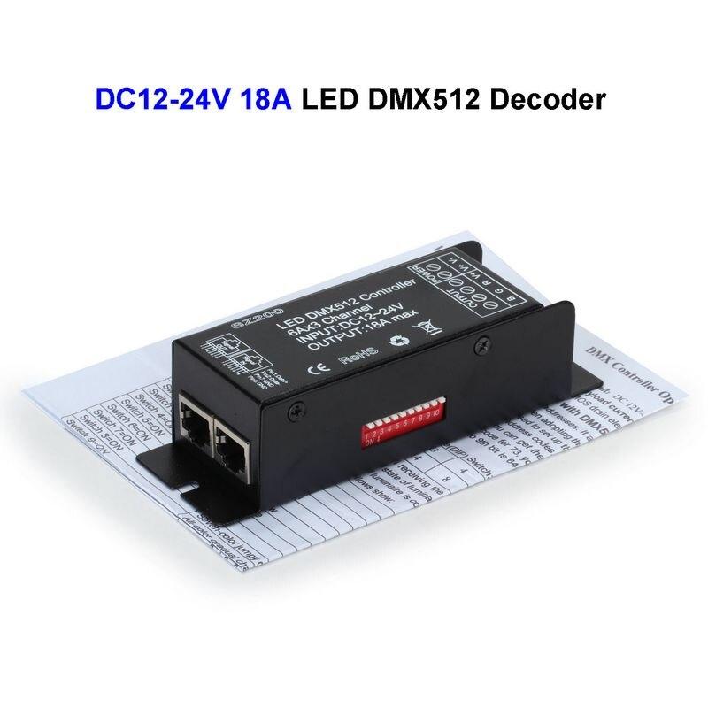 10 Uds DC12V 24V 18A LED DMX512 controlador decodificador DMX para 3528 SMD 5050 RGB 5730 tira LED rígida para