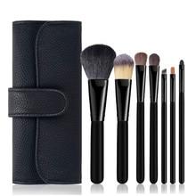 7pcs Makeup Brushes Powder Foundation Blusher Face Kabuki Eyebrow Sponge Smudge Brush Pincel Maquiagem Cosmetics Tools Goat Hair