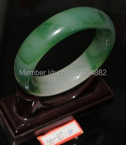 Shitou 0096 Chino Pulsera de jade Natural de jade Blanco  verde en el interior de diámetro 60 MM