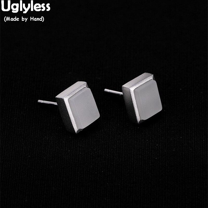 Pendientes rectangulares de tamaño MINI sin Uglyless para mujer gemas naturales de moda Simple joyería fina espárragos de plata 925 sólidos Jade