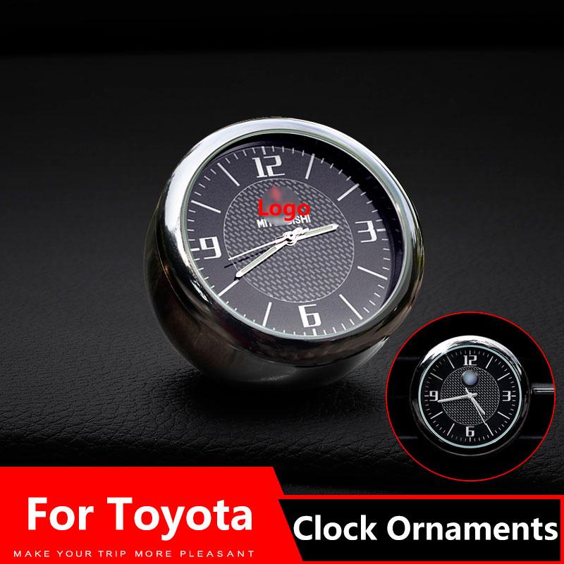 Car Clock Ornaments Air Vents Outlet Clip sticker Logo For Land Cruiser Prado rav4 HighLander Alphard Auris Accessories