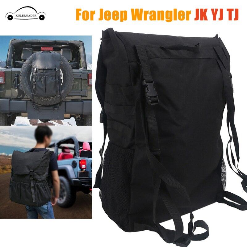 Organizadores de herramientas maletas de carga de maletero bolsas de almacenamiento de neumático de repuesto para Jeep Wrangler JK TJ YJ equipaje mochila multibolsillos KOLEROADER/