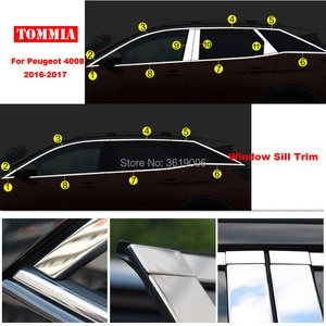 TOMMIA Full Window Middle Pillar Molding Sill Trim Chromium Styling Strips Stainless Steel For Peugeot 4008