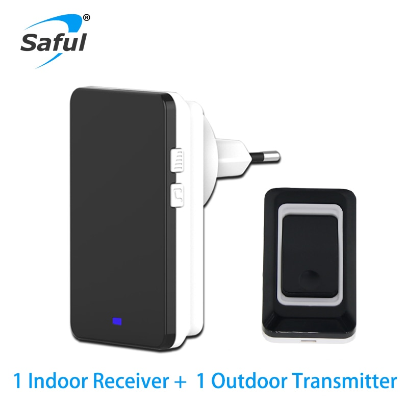 Saful botón de seguridad negro timbre inalámbrico impermeable EU/AU/US/UK 28 tonos de llamada luces LED envío gratis