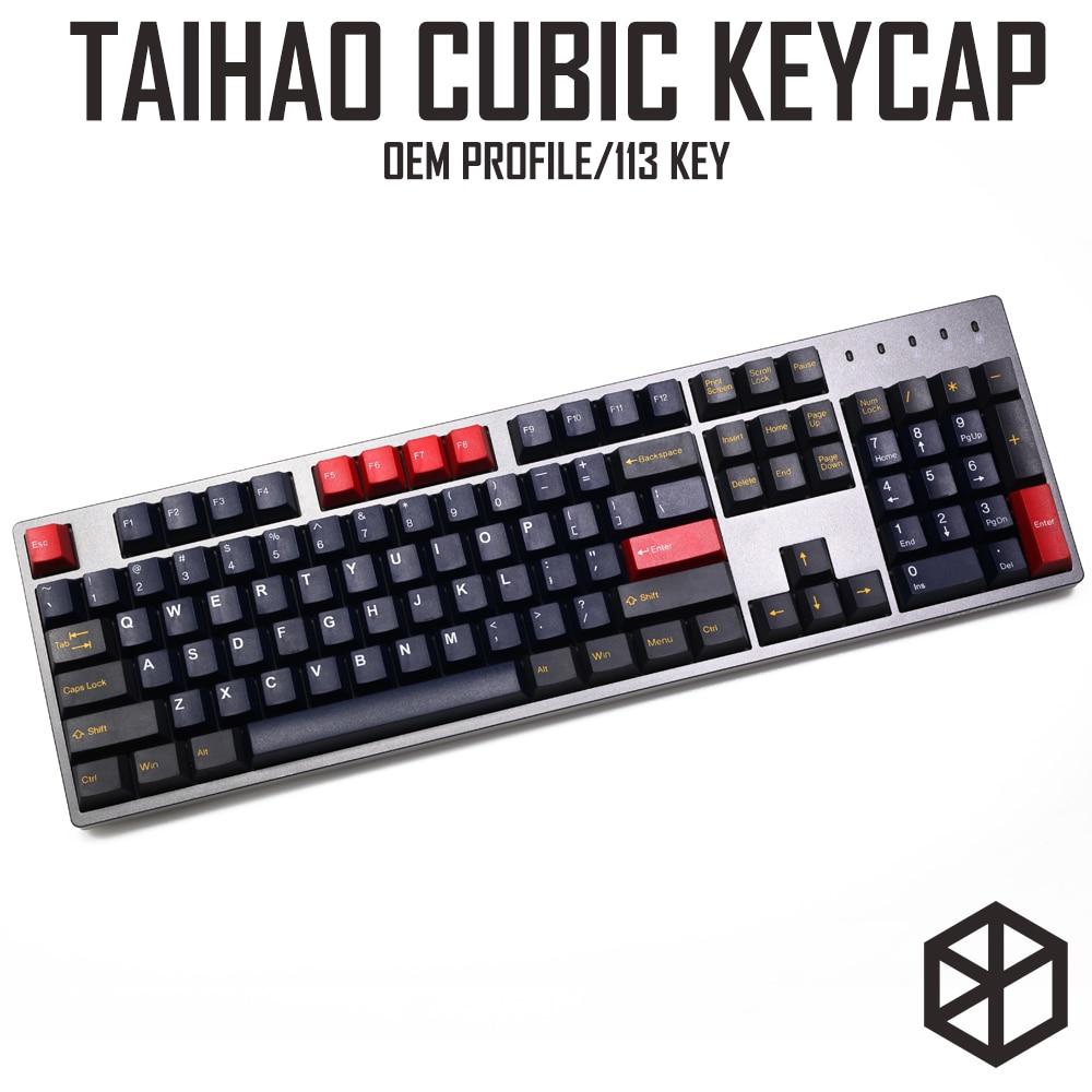 Taihao-أغطية مفاتيح مكعبة مزدوجة السخان للوحة المفاتيح الميكانيكية للألعاب ، أحمر ، أزرق ، رمادي ، مع تحول 1.75 لـ 104 ansi ، افعلها بنفسك