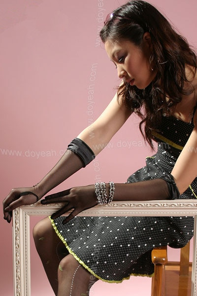 Fashion women Nail bead satin mesh long gloves mittens