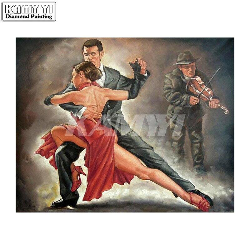 Pintura de diamante Diy 5D, punto de cruz, bailarín de Tango romántico, bordado de diamantes, mosaico completo cuadrado hecho a mano Craft_hcr4