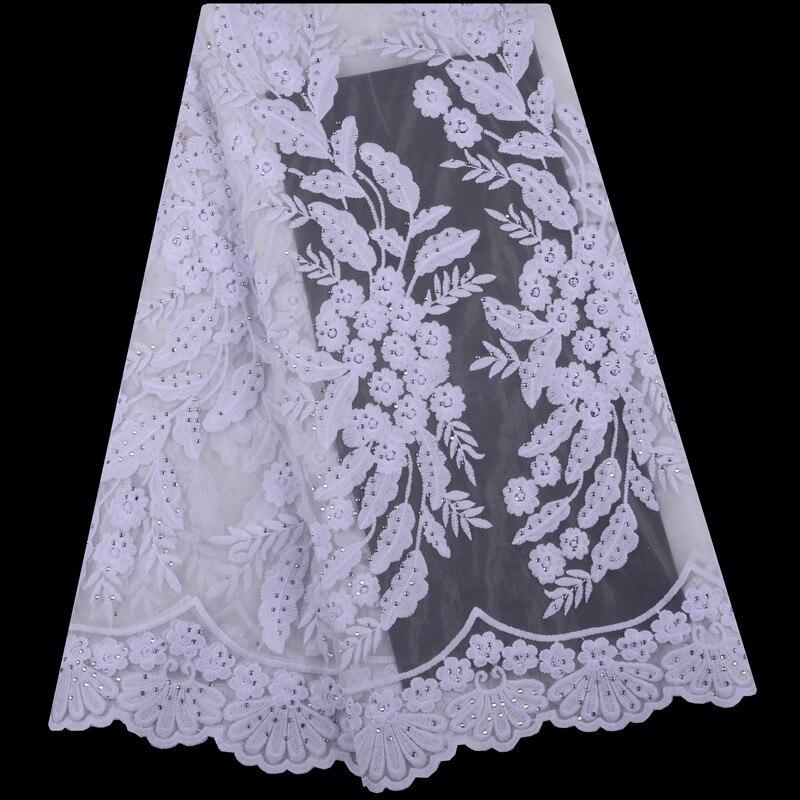 Telas de encaje africano 5 yardas tela de encaje de guipur blanco 2019 tela de encaje de cordón africano de alta calidad para vestidos de novia 1435