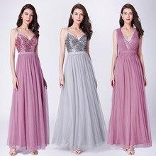 Longues robes De bal 2020 EP07455OD élégant une ligne col en V Tulle robes De soirée De mariage avec Sequin Vestidos De Fiesta Elegantes Largos