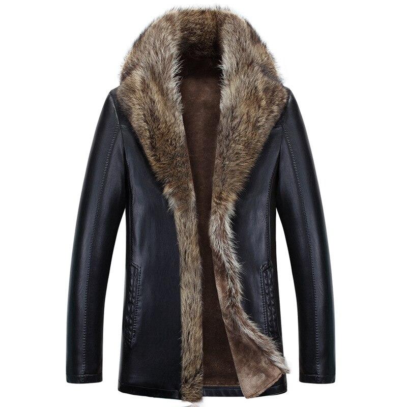 الشتاء جلد الغنم الرجال الراكون الفراء الرجال طويلة عالية الجودة بلون سماكة المخملية معطف جلد ملابس خارجية باركاس MZ1158