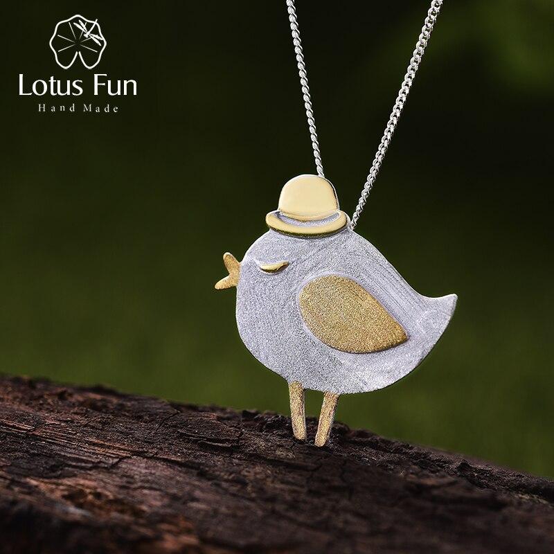 لوتس متعة ريال 925 فضة الطبيعية اليدوية غرامة مجوهرات جميل Gentleman قلادة على شكل طير دون قلادة للنساء