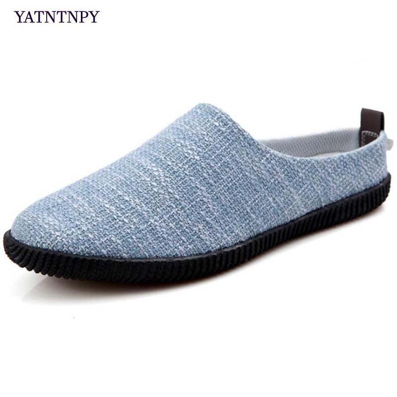 YATNTNPY transpirable de la mitad de los hombres flip flops verano Casual zapatos de gran tamaño Slip-on mocasines hombre plano mocasines para la playa