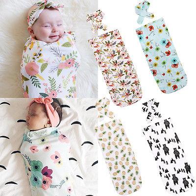 2 unids/set recién nacido moda bebé Swaddle manta bebé sacos de dormir muselina envoltura diadema Dropshipping