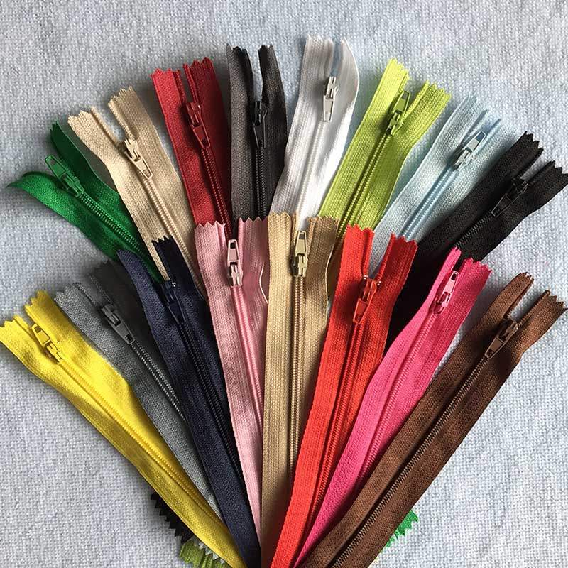 16 pçs 3 # branco preto cinza bege plástico náilon zip coil costura calças zíperes 9 Polegada 23 cm diy acessórios para costura roupas