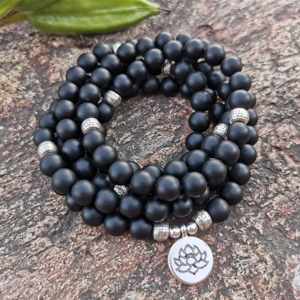 Natural Black frosted onyx 108 Beads Mala Bracelet 8MM Stone Women Men OM Charm Yoga Bracelets Handmade Accessories Gift