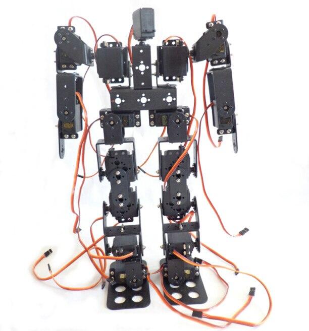 17 DOF humanoide Biped Walking Robot Soporte de aleación de aluminio Servo de alto Torque para DIY Robot,Demo, programación, enseñanza RC juguete