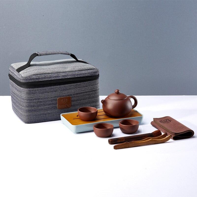 Yixing Zisha طقم شاي صينية الشاي سيارة محملة مكتب السفر المحمولة الكونغ فو إبريق الشاي طقم شاي هدية