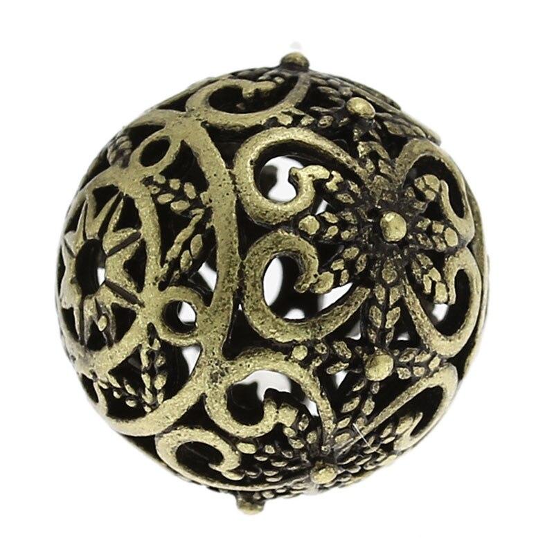 Doreen Box медные бусины-спейсеры, круглый античный бронзовый цветок с узором, полые 17 мм x 16 мм для самостоятельного изготовления ювелирных изде...