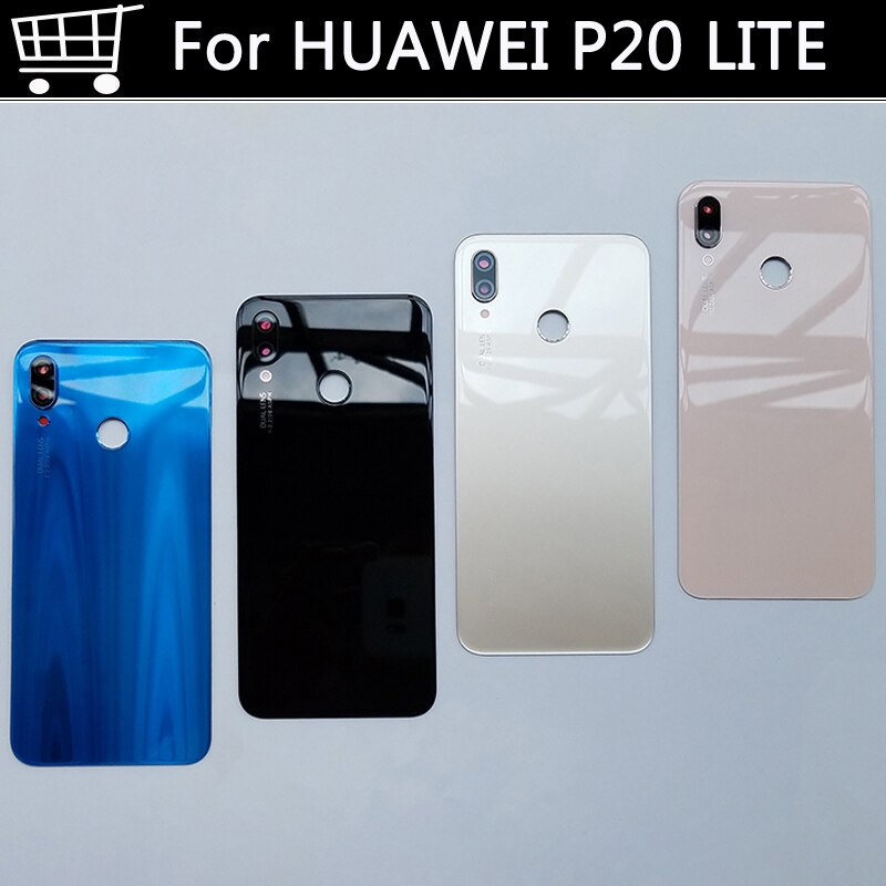 غطاء بطارية لهاتف Huawei P20 LITE ، غطاء خلفي للكاميرا الخلفية ، باب زجاجي لهاتف Huawei P20 LITE