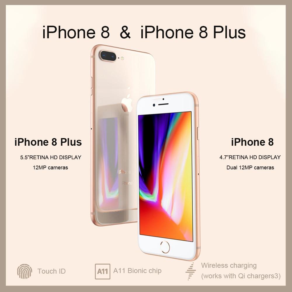 Разблокированный новый оригинальный Apple iPhone 8/8 Plus TouchID 4G LTE iOS 12 МП камера 4,7/5,5 дюйм Retina HD дисплей беспроводной Смартфон