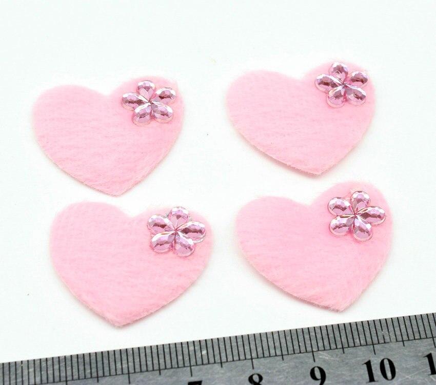 500pcs sale Heart Appliques 30mm x 25mm pink fluffy velvet Hearts with - Flower resin rhinestone - Heart Embellishment